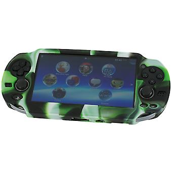 Soft silicone skin protector cover bumper grip case for sony ps vita 1000 & camo green