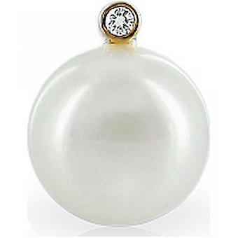 Luna-Pearls - Necklace - Pendant Brilliant - Yellow Gold 585 Freshwater Breeding Bead Bouton 11.5-12 mm