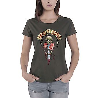 Guns N Roses T Shirt Dripping Dagger Logo Official Womens New Grey Skinny Fit