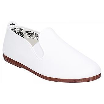 Flossy Arnedo Ladies Canvas Slip On Plimsolls White