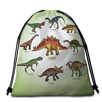 Multi Colored Dinosaurs Beach Towel