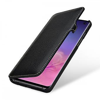 Case For Samsung Galaxy S10 Book Type Grained Black In True Leather