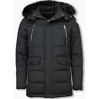 Long Parka Jacket Men – With Fur Collar – Black