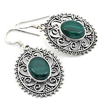 Malachit Ohrringe 925 Silber Sterlingsilber Ohrhänger grün (KLE-OH-012)