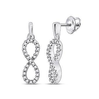 1/4 Carat (ctw G-H, I1-I2) Diamond Infinity Dangle Earrings in 10K White Gold