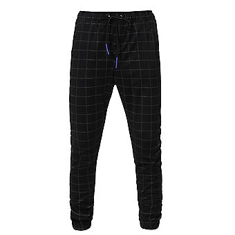 Allthemen mannen ' s casual cool koord Plaid sport zwart Capri-broek