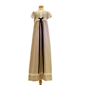 Dopklänning I Lin, Smal Marin-blå Doprosett.  Grace Of Sweden
