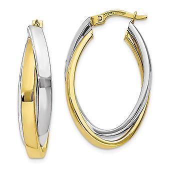 18.6mm 10k Two tone Oval Hoop Earrings Jewelry Gifts for Women - 3.6 Grams