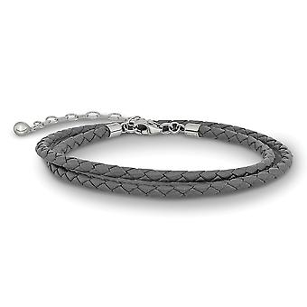 925 Sterling Silber Reflexionen grau Leder mit 2in Ext Halsband Wrap Armband Schmuck Geschenke für Frauen