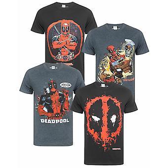 Marvel Deadpool Men's T-Shirt Splat Face Logo Black Grey Superhero T-Shirts