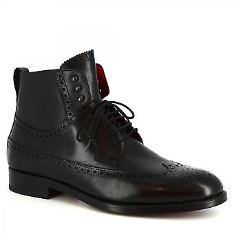 Leonardo Shoes Men's handmade lace-ups brogues boots in black calf leather