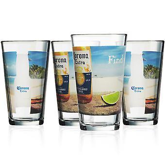 Corona Extra Trouver votre plage 4-Pack Pint Glass Set