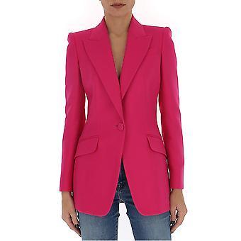 Alexander Mcqueen 610279qjaaa5033 Women's Fuchsia Cotton Blazer