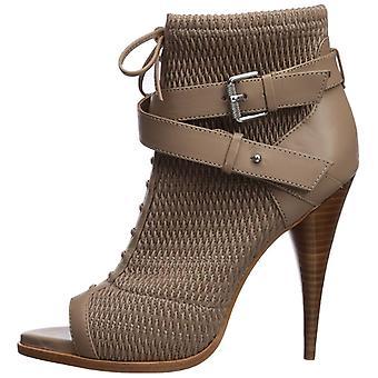 BCBGMAXAZRIA Womens gia Leather Peep Toe Casual Slide Sandals