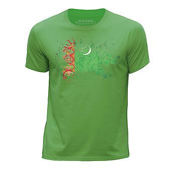 STUFF4 Chłopca rundy szyi T-shirty Shirt/Turkmenistan flaga ikona/zielony