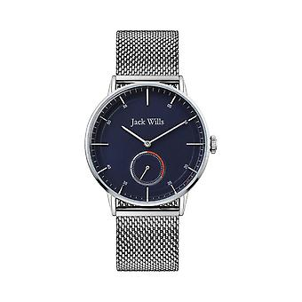 Jack Wills Jw002blmh Navy Blue & Silver Stainless Steel Mesh Men's Watch