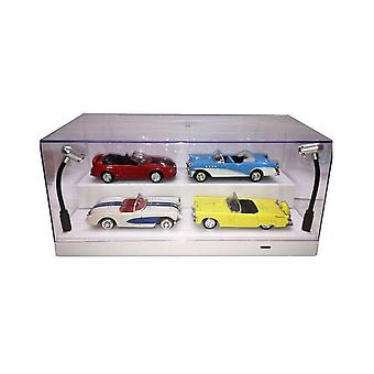 1-24 Stackable Acrylic Case with LED Lights (White Base) Display Case