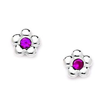 14k Wit Goud Rood CZ Kubieke Zirconia Gesimuleerde Diamond Small Flower Screw terug Oorbellen maatregelen 7x7mm sieraden geschenken voor