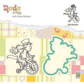 Nellie's Choice DADA Die & Clear stamp marriage Love on a bike DDCS027 55x63mm (01-20)
