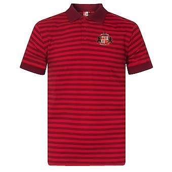 Sunderland AFC Official Football Gift Mens Yarn Dye Marl Striped Polo Shirt