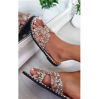 IKRUSH Womens Petra Embellished Slip On Sandals