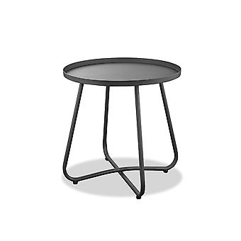 Gray Aluminum Indoor Outdoor Round End Table