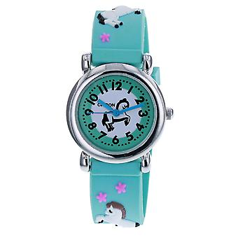 Citron KID154 Analogue Girls 3D White Horse Motiff Blue Silicone Strap Watch