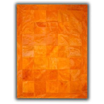 Rugs -Patchwork Leather Cubed Cowhide - Plain Orange with Border