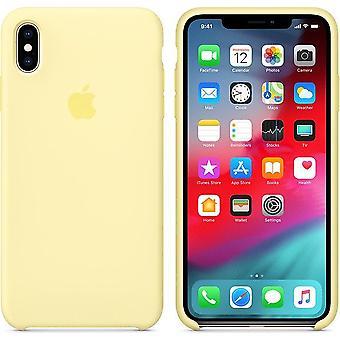 Originalverpackung Apple Silikon Mikrofaser Cover Hülle für iPhone XS Max - samtgelb (Mellow Yellow)