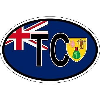 ملصقا بيضاويا البيضاوي رمز العلم البلد TC تركس وكايكوس