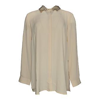 Coleção Clássica Joan Rivers Women's Top Embellished Collar Bege A284162