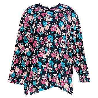 Metropolitan Women's Plus Sweater Floral Printed Crew Neck Blue