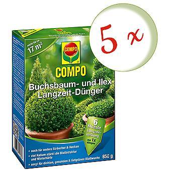 Sparset: 5 x COMPO boxwood and Ilex long-term fertilizer, 850 g