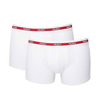 HUGO 2 pack witte stretch katoenen Boxershorts