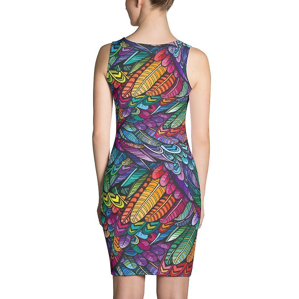 Slim Fit Dress | Colorful Feathers rB5Pdf
