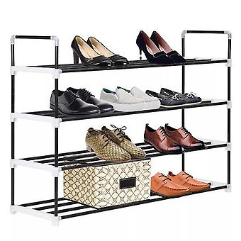 Metal and Plastic Shoe Rack with 4 Shelves Black
