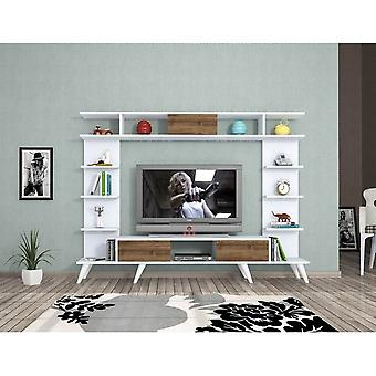 Mobile TV Port Pan Color White, Dąb w melaminowej chip, PVC 180x35x135 cm