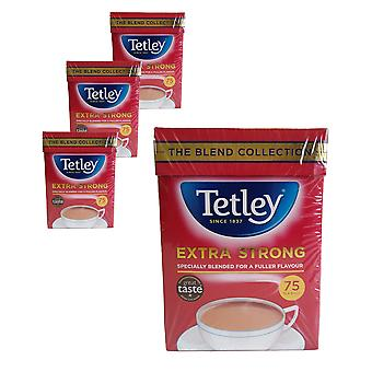 4 x 75 bolsas de té Ttley Extra Strong Infusion Hot Drink Blend Collection