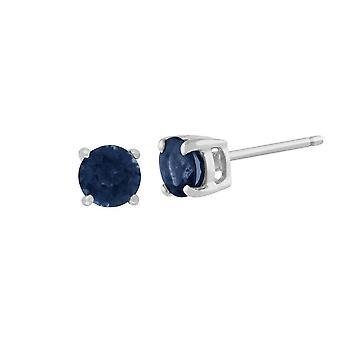 Klassinen pyöreä vaaleansininen sapphire stud korvakorut 9ct valkoinen kulta 3.5mm 117E0031169