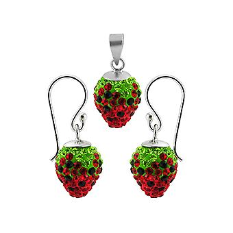 Red And Green Crystal stone Studded Silver Red Cherry Jewelry Set