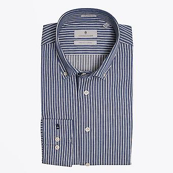 Thomas Maine  - Cotton Pinstripe Shirt - Blue