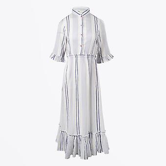 Dream  - Embroidered Stripe Maxi Dress - White/Blue