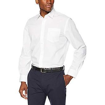 "Essentials Men's Regular-Fit Wrinkle-Resistant Long-Sleeve Solid Dress Shirt, White, 17"" Neck 32""-33"" Sleeve"