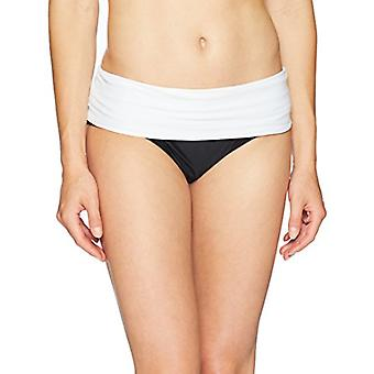 Brand - Coastal Blue Women's Swimwear Convertible Fold Over Bikini Bottom, Ebony, XL