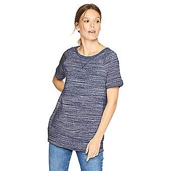 Merkki - Daily Ritual Women's Terry Cotton and Modal Roll-Sleeve Shirt, Navy Spacedye, Pieni