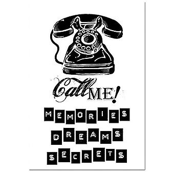 Natural Rubber Stamp Call Me Telephone (WTKCC34)