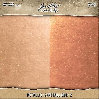 Idea-ologie Tim Holtz Kraft-Stock 8x8 Inch Metalic 2 Rose Gold & Cupru