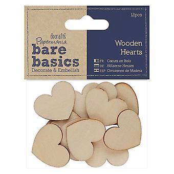 Papermania Bare Basics Wooden Hearts (12pcs) (PMA 174654)