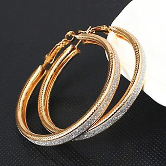 Gold Glittery Hoop Earrings for All Occasions