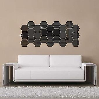 Hexagonal 3d Mirror Wall Stickers For Restaurant Aisle Floor Personality Decorative Mirror Paste Living Room